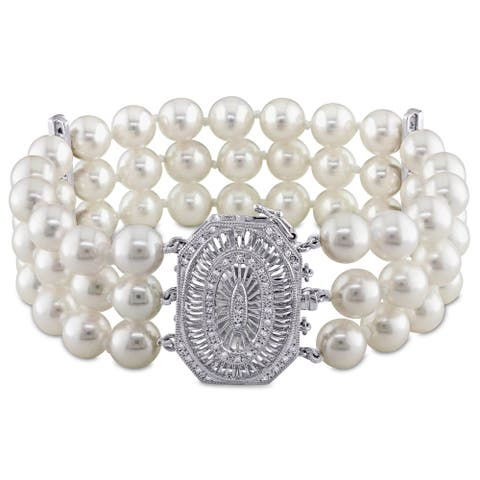 Miadora Signature Collection 14k White Gold and 1/3ct TDW Diamond Three Row Akoya Pearl Bracelet (G-H, SI1-SI2) (7-7.5mm)
