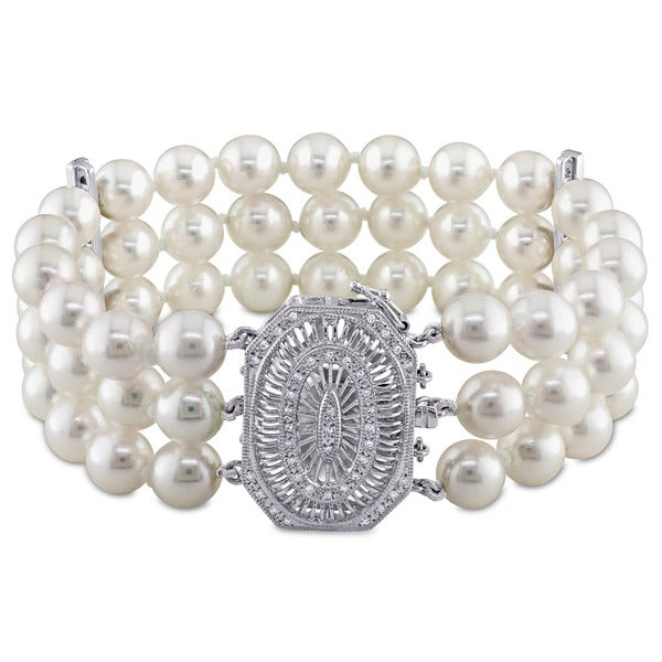 Miadora Signature Collection 14k White Gold and 1/3ct TDW Diamond Three Row Akoya Pearl Bracelet (G-H, SI1-SI2) (7-7.5mm). Opens flyout.
