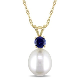 Miadora 14k Yellow Gold Cultured Freshwater Pearl and Sapphire Necklace (8-8.5mm)