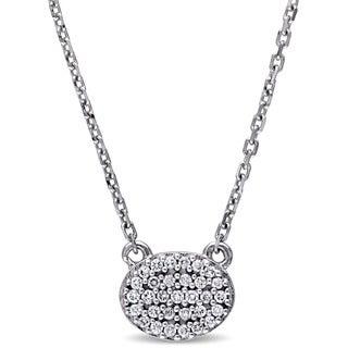 Miadora 14k White Gold 1/10ct TDW Diamond Oval Cluster Necklace (G-H, SI1-SI2)