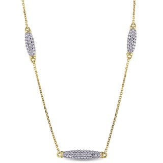 Miadora Signature Collection 14k Yellow Gold 3/8ct TDW Diamond Cluster Station Necklace (G-H, SI1-SI2)
