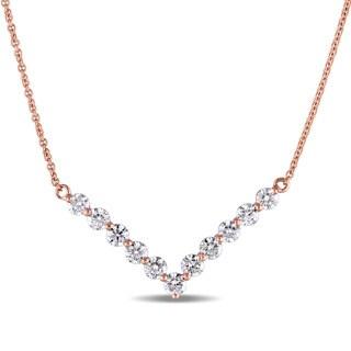 Miadora Signature Collection 14k Rose Gold 1 1/10ct TDW Diamond Chevron Necklace (G-H, SI1-SI2)