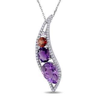 Miadora Signature Collection 14k White Gold Amethyst Garnet and White Sapphire with 1/2ct TDW Diamond Necklace (G-H, SI1-SI2)