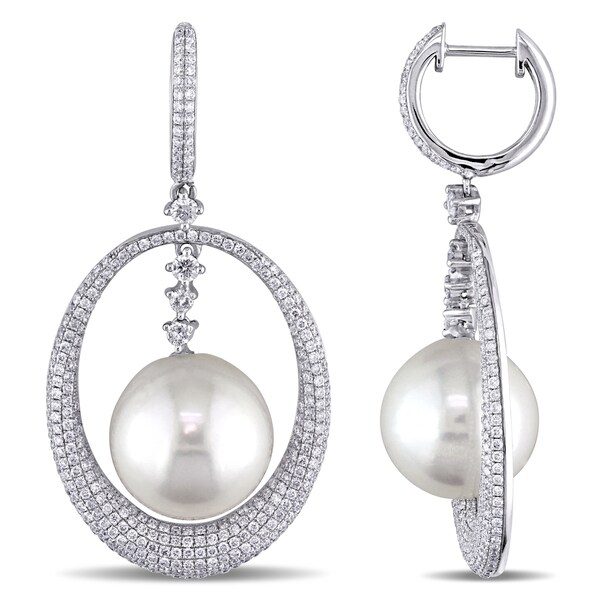Miadora Signature Collection 14k White Gold Cultured Freshwater Pearl and 2ct TDW Diamond Earrings (G-H, SI1-SI2) (12.5-13mm)