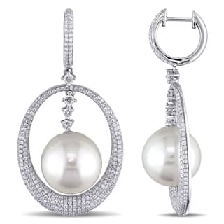 Miadora Signature Collection 14k White Gold Cultured Freshwater Pearl and 2ct TDW Diamond Earrings (G-H, SI1-SI2) (12.5-13mm)|https://ak1.ostkcdn.com/images/products/12447873/P19262225.jpg?impolicy=medium