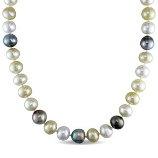 Miadora Signature Collection 14k Yellow Gold Multicolor South Sea and Tahitian Cultured Pearl Strand Necklace (10-12mm)