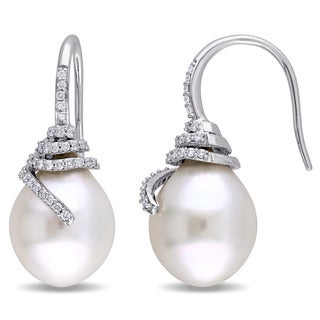 Miadora Signature Collection 14k White Gold South Sea Pearl and 1/3ct TDW Diamond Spiral Earrings (G-H, SI1-SI2) (10-10.5mm)