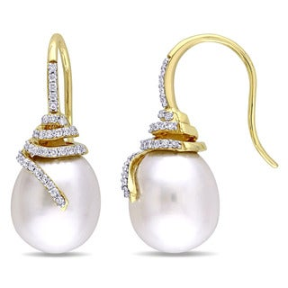 Miadora Signature Collection 14k Yellow Gold South Sea Pearl and 1/3ct TDW Diamond Spiral Earrings (G-H, SI1-SI2) (10-10.5mm)