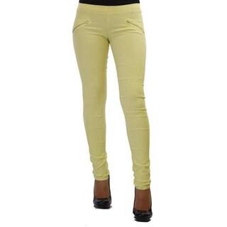 Women's Solid-colored Cotton Faux Side Zipper Pocket Pants