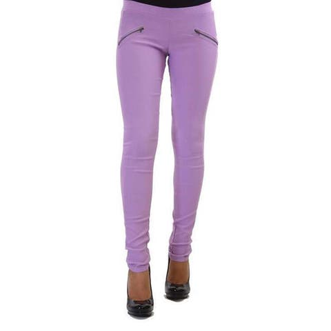 Women's Solid-colored Cotton Faux Side Zipper Pocket Pants