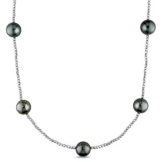 Miadora Signature Collection 18k White Gold Tahitian Black Pearl Tin Cup Necklace (11-12mm)|https://ak1.ostkcdn.com/images/products/12447891/P19262239.jpg?impolicy=medium