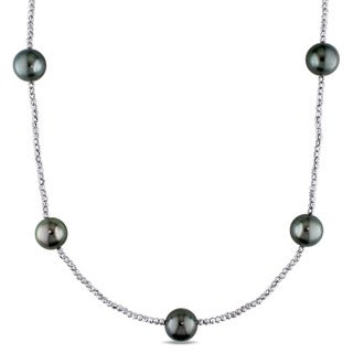Miadora Signature Collection 18k White Gold Tahitian Black Pearl Tin Cup Necklace (11-12mm)