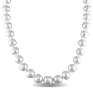 Miadora Signature Collection 14k White Gold South Sea Graduated Pearl and 1/5ct TDW Diamond Necklace (G-H, SI1-SI2) (10-13mm)