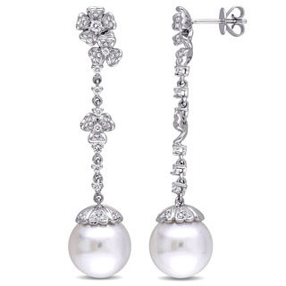 Miadora Signature Collection 14k White Gold South Sea Pearl and 3/5ct TDW Diamond Drop Flower Earrings (G-H, SI1-SI2)