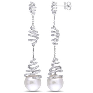Miadora Signature Collection 14k White Gold South Sea Cultured Pearl 3/4ct TDW Diamond Spiral Earrings (G-H, SI1-SI2)(10.5-11mm)