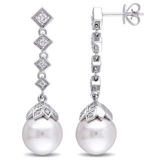 Miadora Signature Collection 14k White Gold South Sea Pearl and 1/3ct TDW Diamond Earrings (G-H, SI1-SI2) (10-10.5mm)
