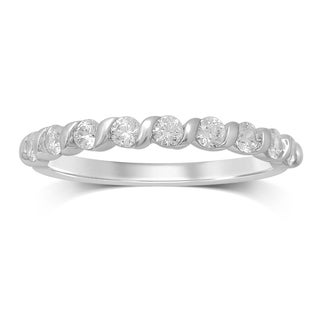 Unending Love 10k White Gold 1/2ct TDW Channel-set Diamond Ladies Wedding Band