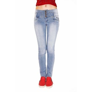 Juniors' Light Blue Stretch Denim Butt-lifter Skinny Jeans