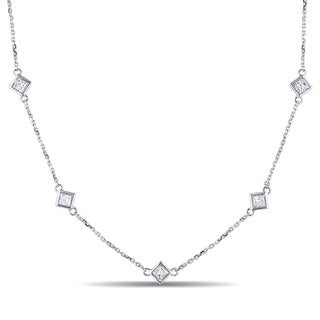 Miadora Signature Collection 14k White Gold 4/5ct TDW Princess-Cut Diamond Station Necklace
