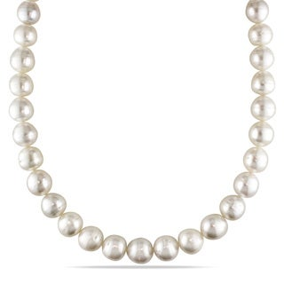 Miadora Signature Collection 14k White Gold South Sea Graduated Pearl and Diamond Accent Strand Necklace (11-13.5mm)