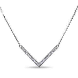 Miadora 14k White Gold 1/6ct TDW Diamond Chevron Necklace (G-H, SI1-SI2)