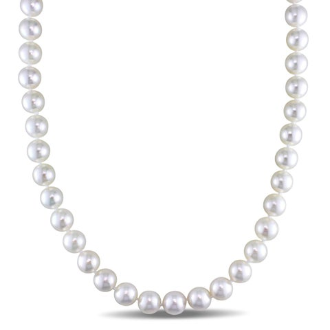 Miadora Signature Collection Cultured Akoya Pearl Strand Invisible Clasp Necklace (9-9.5mm) - White