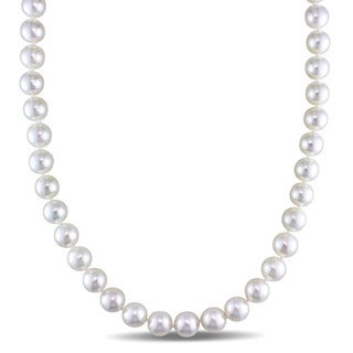 Miadora Signature Collection Cultured Akoya Pearl Strand Invisible Clasp Necklace (9-9.5mm)