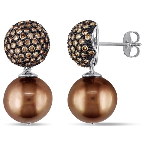 Miadora Signature Collection 14k White Gold Black Rhodium Brown Tahitian Pearl and 1 1/2ct TDW Brown Diamond Earrings (12mm)