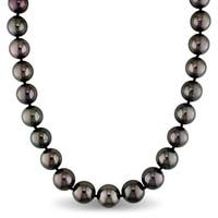 Miadora Signature Collection 14k White Gold Tahitian Graduated Black Pearl Strand Necklace (11-13mm)