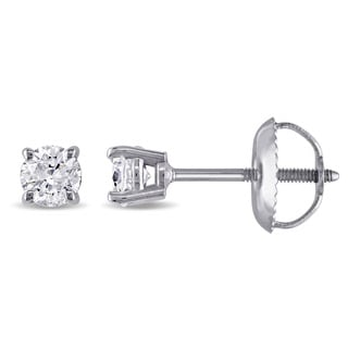 Miadora 14k White Gold 1/3ct TDW Diamond Solitaire Stud Earrings