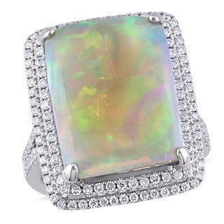 Miadora Signature Collection 14k White Gold Ethiopian Opal and 3/4ct TDW Diamond Halo Cocktail Ring (G-H, SI1-SI2)