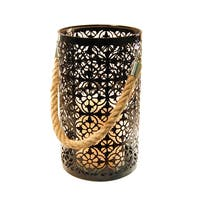 Pine Canopy Six Rivers Metal Lantern with LED Candle