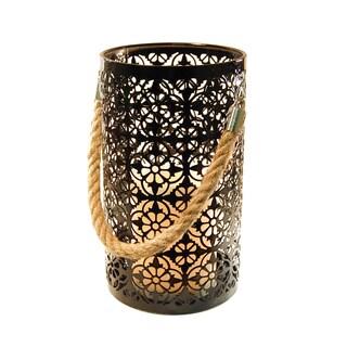 Metal Lantern with LED Candle- Black Jacquard Design
