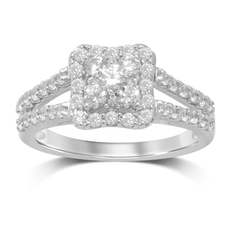 UNENDING LOVE 1CT TW DIAMOND CLUSTER SPLIT SHANK ENGAGEMENT RING 10KT WHITE GOLD (IJ I2-I3)