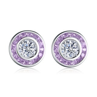 Collette Z Sterling Silver Clear and Purple Cubic Zirconia Earrings