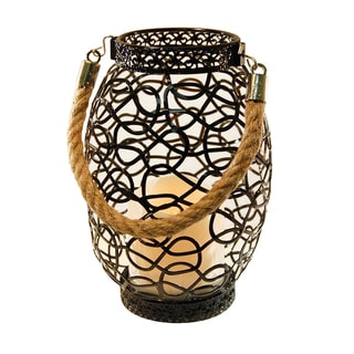 Metal Lantern with LED Candle- Black Swirl Design