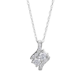 SummerRose, 14k White Gold Fancy Two Stone Pendant Necklace 1/4ct TDW