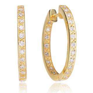 Collette Z C.Z. SS Gold Plated Inside Out Paved Hoop Earrings