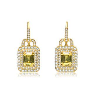 Collette Z C.Z. Sterling Silver Rhodium Plated Yellow and White Square Earrings