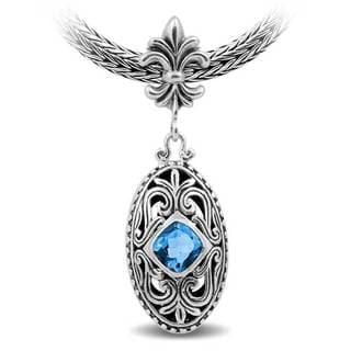 Handcrafted Sterling Silver Fleur de Lis Blue Topaz Pendant (Indonesia)