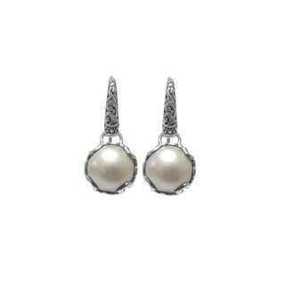 Handmade Sterling Silver Mabe Pearl Dangle Earrings (12 mm) (Indonesia)