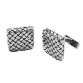Handcrafted Antiqued Sterling Silver X Square Cuff Links (Indonesia)