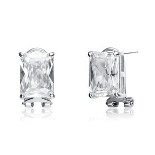 Collette Z Sterling Silver Cubic Zirconia Simple Stud Earrings