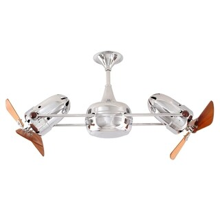 Mathews Fan Company Duplo Dinamico Polished Chrome Rotational Ceiling Fan with Mahogany Blades - Silver