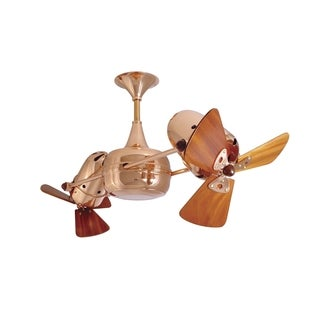 Matthew's Fan Duplo Dinamico Polished Copper Rotational Ceiling Fan With Mahogany Blades - Brown