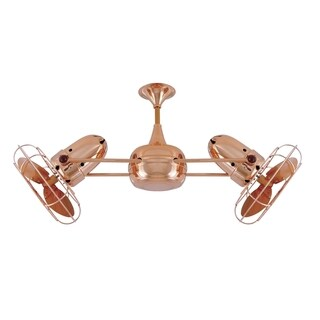 Mathews Fan Company Duplo Dinamico Polished Copper Rotational Ceiling Fan - Brown