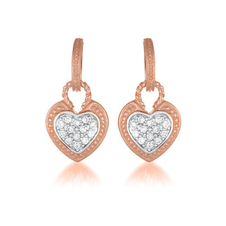 Collette Z C.Z. Sterling Silver rose Plated Heart Shape Drop Earrings