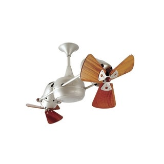 Mathews Fan Company Duplo Dinamico Silver Brushed Nickel Rotational Ceiling Fan with Mahogany Blades