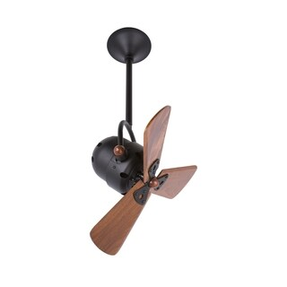 Mathews Fan Company Bianca Direcional Matte Black Aluminum and Steel Ceiling Fan with 3 Mahogany Blades