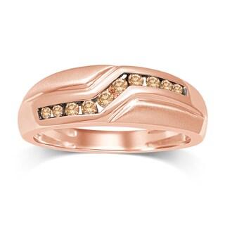 Unending Love 10k Rose Gold Brown Diamond Men's Band - Pink
